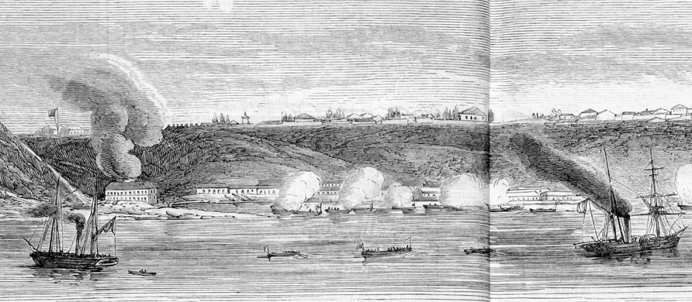 Обстрел Таганрога 22 мая (3 июня) 1855 года. Фрагмент гравюры Дюрана-Браже. Из личной коллекции автора.