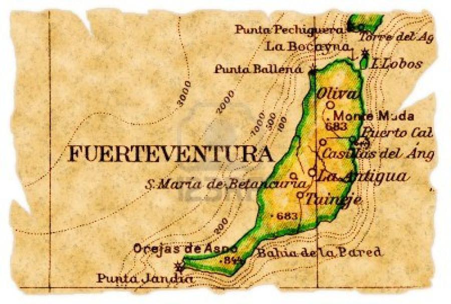 8284726-fuerteventura-canarische-eilanden-op-een-oude-gescheurde-kaart-van-1949-geafa-soleerd-een-deel-van-d