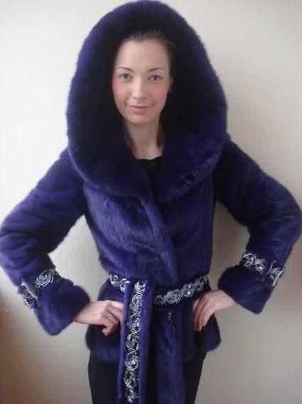 Полушубок из финской серо-голубой норки, окрашенной в фиолетовый