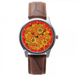 Часы со славянской символикой. Золотая Хохлома.