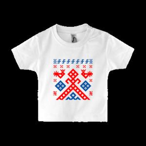 Футболка русская детская для грудничков с застежкой на левом плече. Макошь.