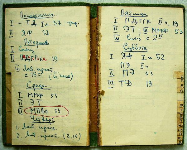 Расписание занятий физиков ГГУ 1956 год
