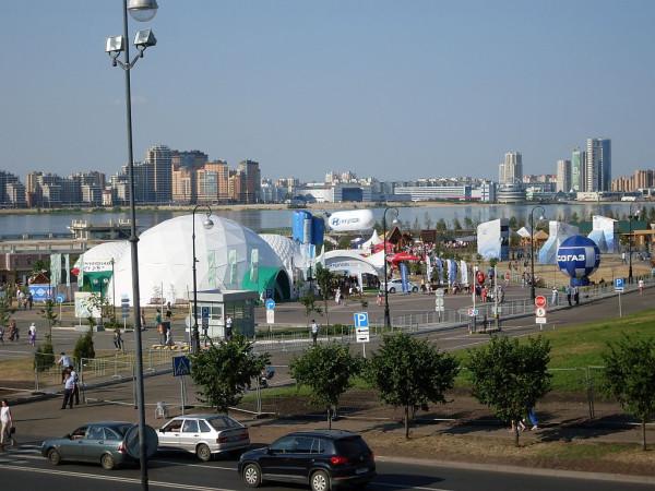Вид парка на реке Казанке