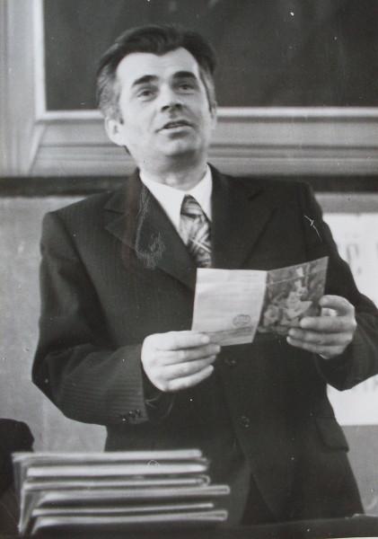 И.А.Карпович читает поздравления 1978