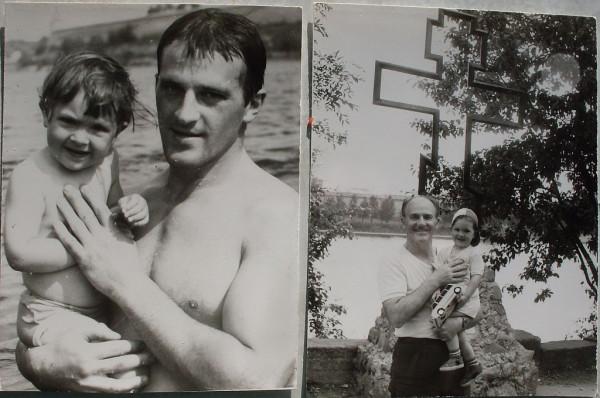 Катя в 1994 с отцом и дедом