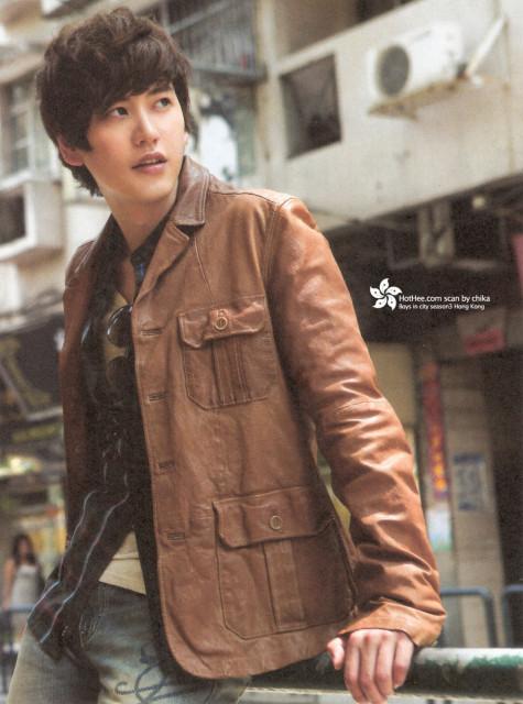 kyuhyun brown leather jacket