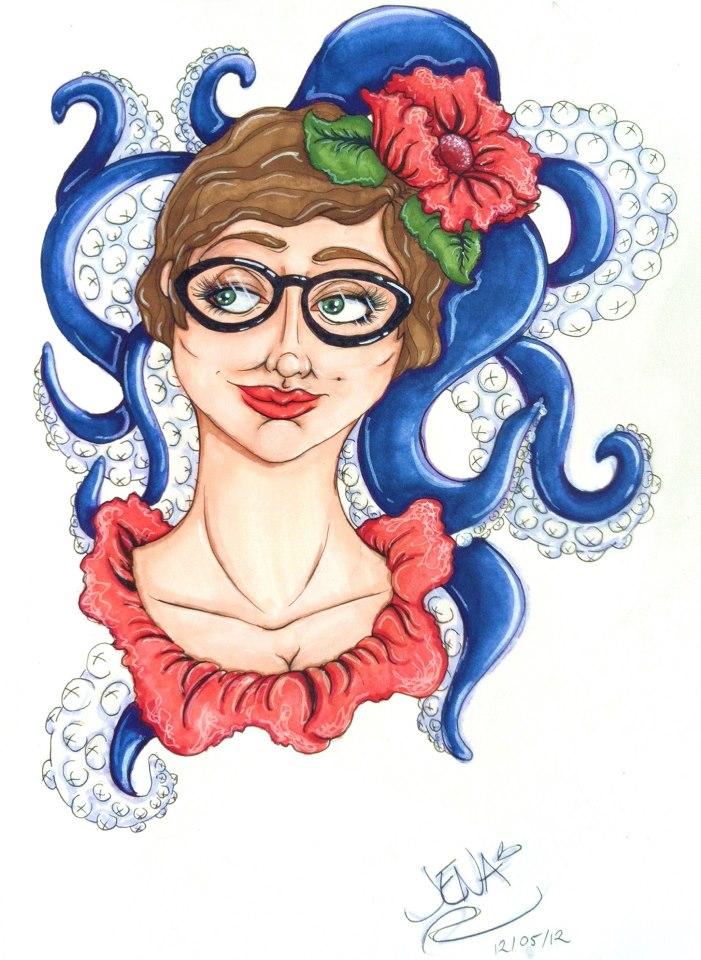 Jenaveve Lester sketch Gail Carriger Octopus