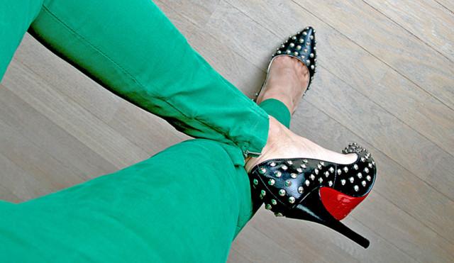 louboutin + green pants