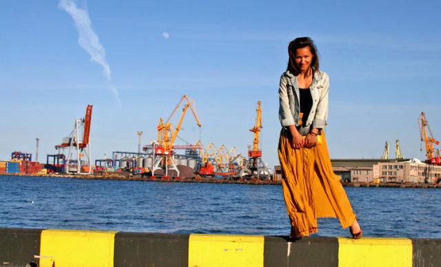 yellow maxi silk skirt, Celine clutch