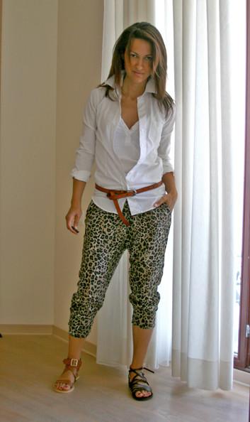 leo pants, white shirt