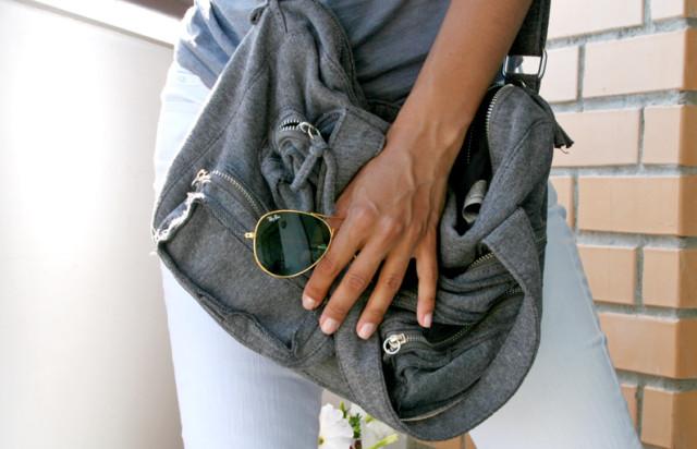 grey zara bag, ray ban