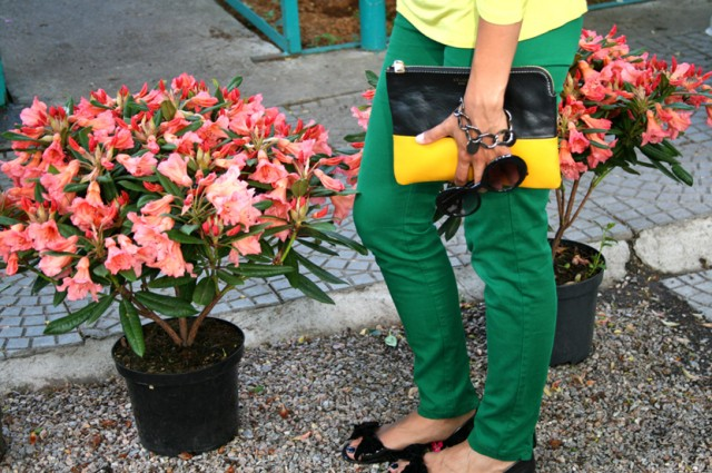 celine clutch, green pants, yellow t-shirt, green-yellow look