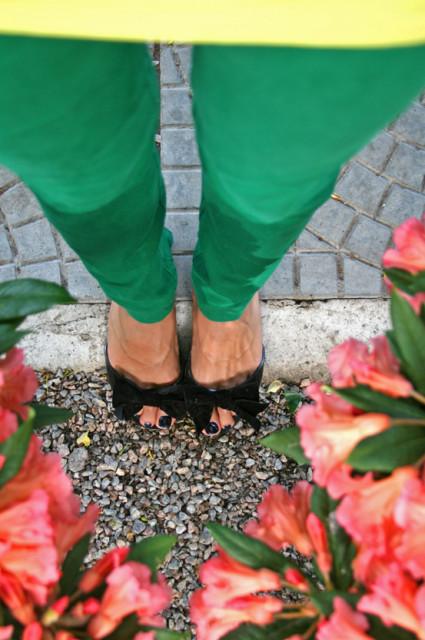 зеленые капри, черные балетки, цветы