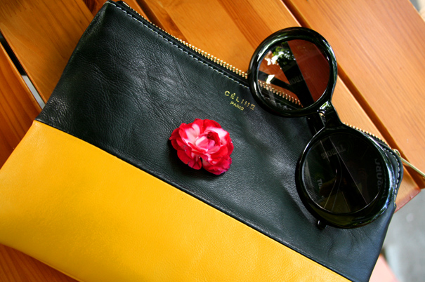 celine clutch, chanel sunglasses