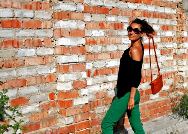 green pants, orange celine bag