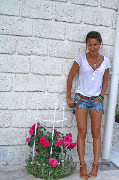 denim shorts, white t-shirt, accessories