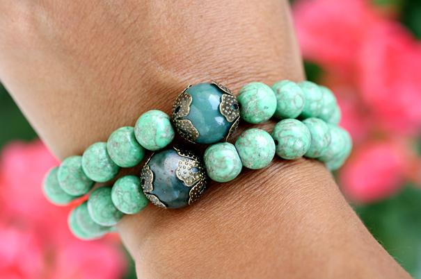браслеты из натурального камня, бирюза, оникс