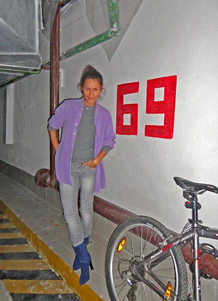 purple boyfriend's shirt