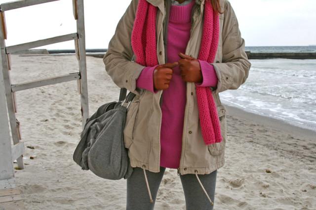 на пляже зимой