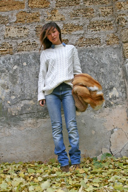 white sweater and denim look