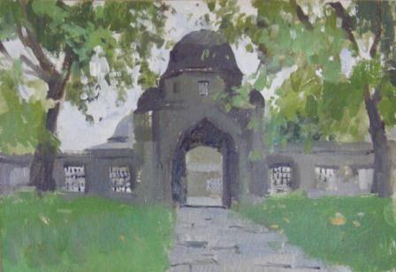 Махмудова Ф.А.Дворик мечети.2007. Картон, масло