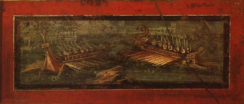 Морское сражение. Фреска.60—79 гг. Помпеи, Дом Веттиев (VI, 15, 1).jpg