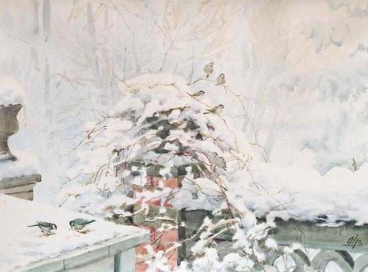 5 птички  на  снегу