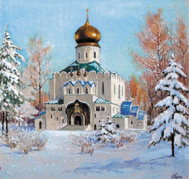 6 Феодоровский Царский Собор в Царском Селе зимой, 1917-е.