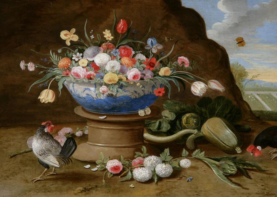 1 Jan van Kessel_au_vase_de_fleurs_et_aux_coqs