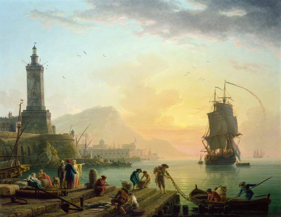 7 Claude-Joseph Vernet - Calm at a Mediterranean Port, 1770