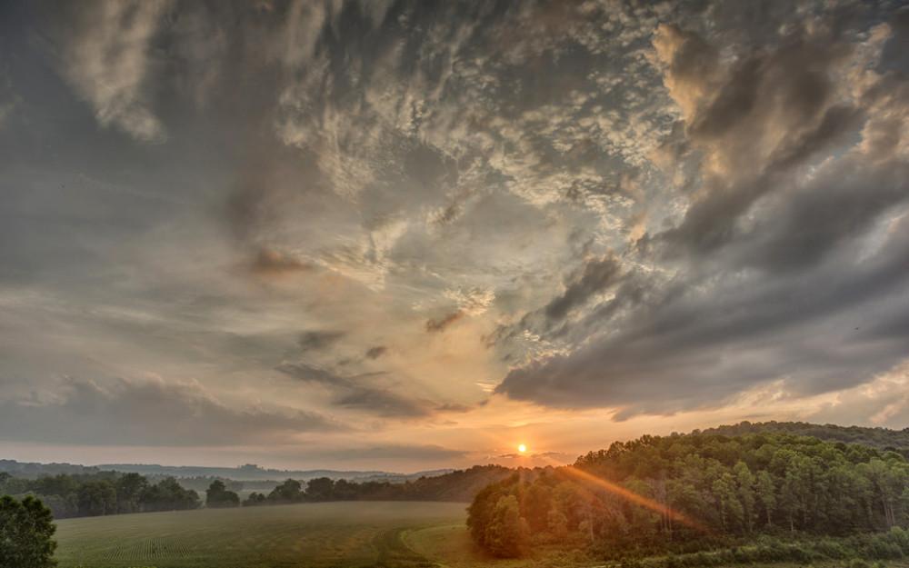 Заход солнца, начало осени