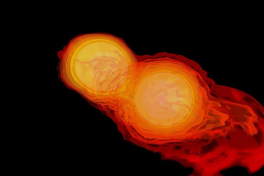 6 Две объединяющиеся  нейтронные  звезды