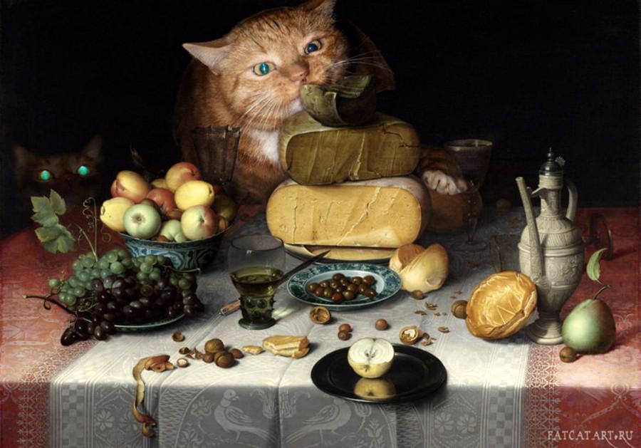 4 Флорис Ван Дейк, Натюрморт с сырами и котами - копия.JPG