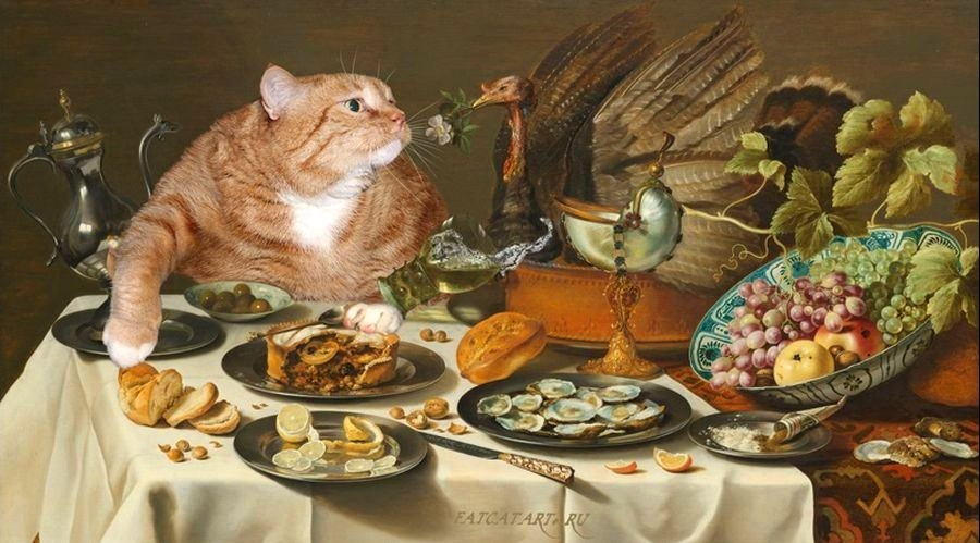 7 Питер Клас, Натюрморт с Котом, интересующимся пирогом с индейкой..jpg