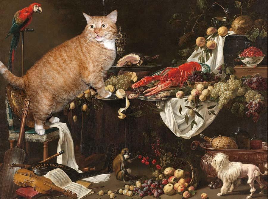 1 Адриан ван Утрехт, Натюрморт, 1644. Просто добавь кота. - копия.jpg
