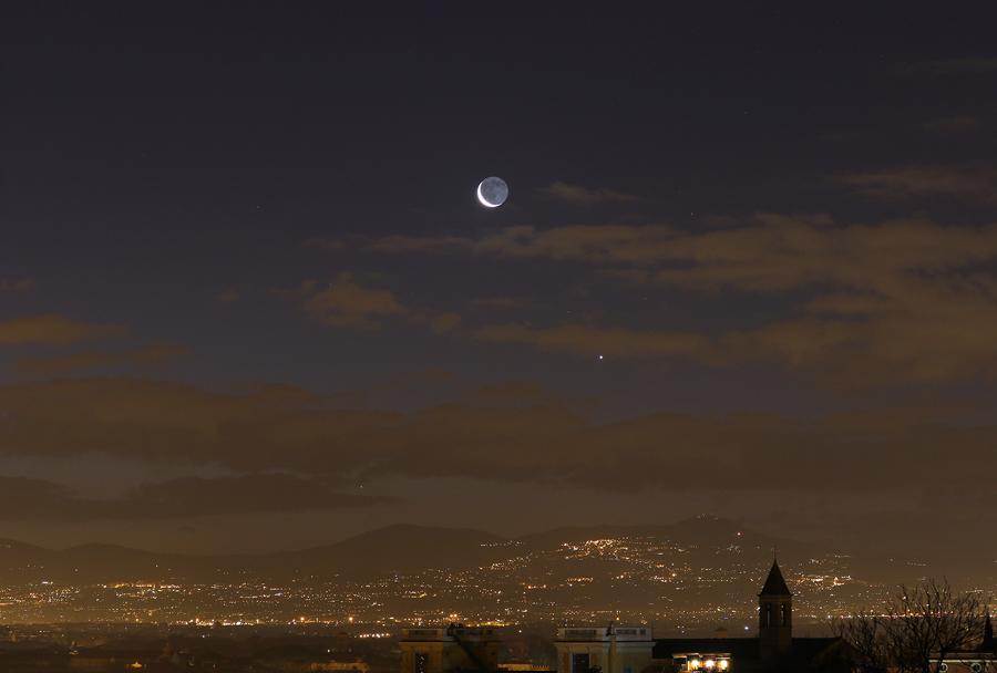 Венера, Меркурий  и  пепельный  свет  убывающей  Луны..jpg