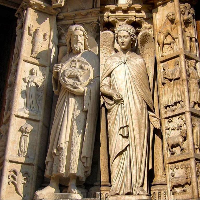 Символы знаков зодиака на барельефах Нотр-Дам де Пари: (справа снизу вверх) Овен, Телец, Близнецы, Лев; (слева сверху вниз) Рак, Дева, Весы, Скорпион. Здесь так  же  Рак и Лев поменялись местами.