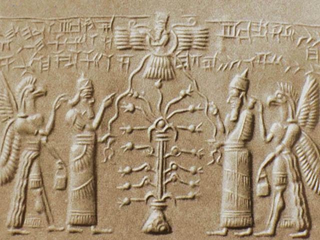 Крылатое солнечное божество и Древо Жизни