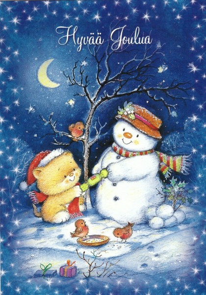 Снеговик и котенок
