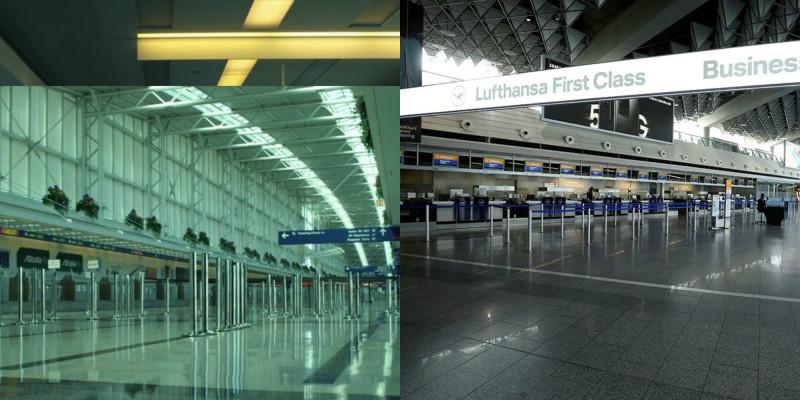 """Слева - кадр из """"Заражения"""". Справа - аэропорт Франкфурта в наши дни. Источник: Соцсети"""