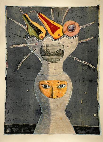 ВАЛЕРИЙ ГОШКО Головной убор - 1  Персиковая косточка 2008 цв.литография 60 х 44