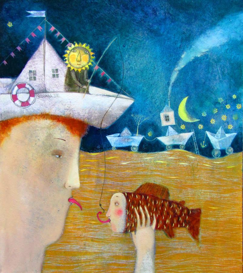 В созвездии рыб. 2010г. 90х70. холст. масло
