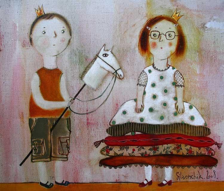 Копия Принц на белом коне и принцесса на горошине. 2008г. 65х50.х.м. продана