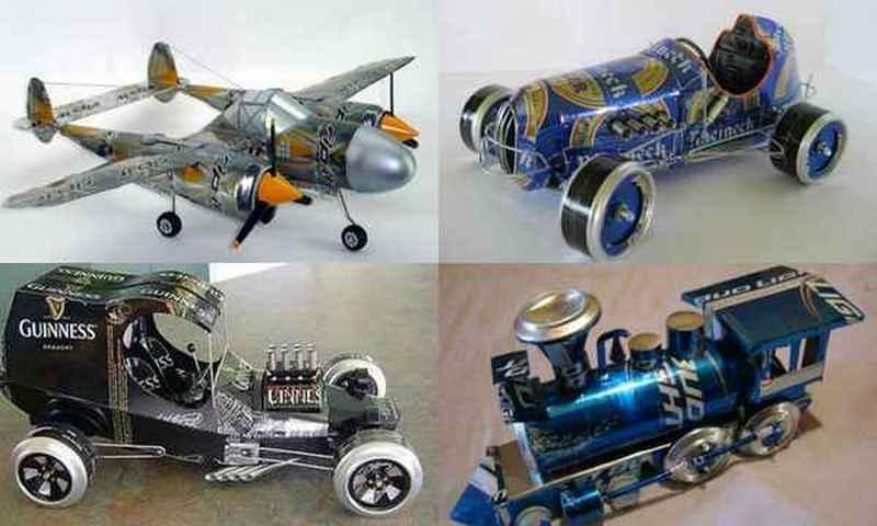 Модели транспорта из пивных банок