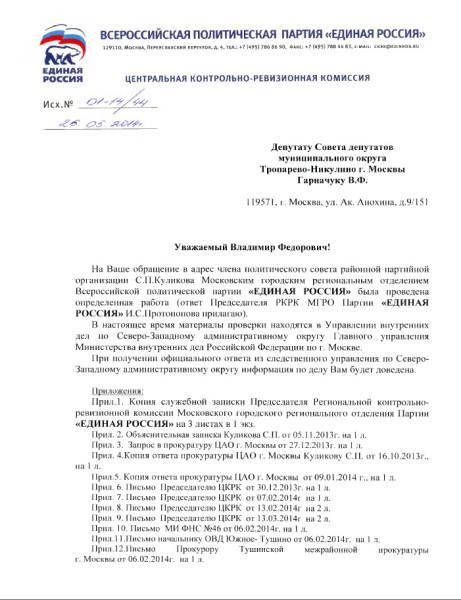 запросы ЦКРК о Куликове