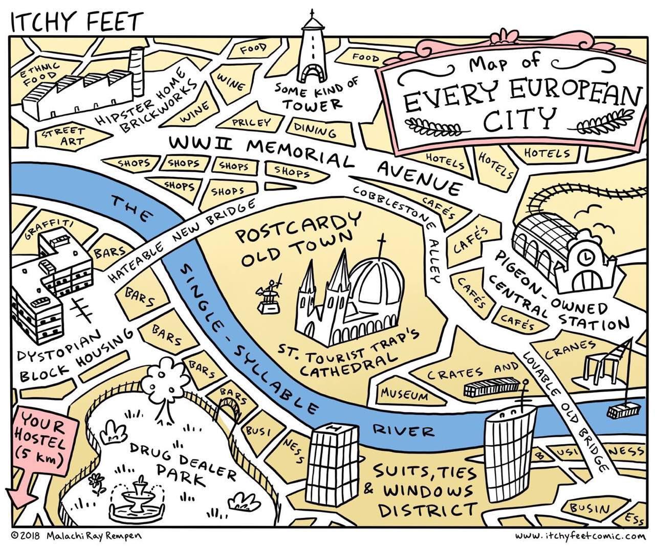 карта европейского города