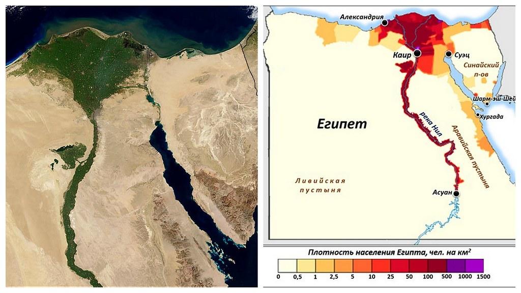 плотность населения вдоль реки Нил
