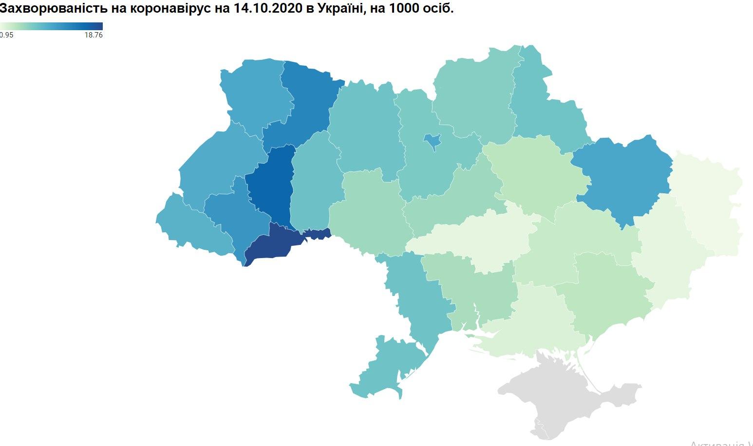 захворюваність на ковід, відноіні дані, на 1000 населення