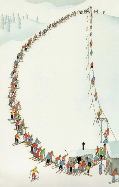 лыжники на подъемнике