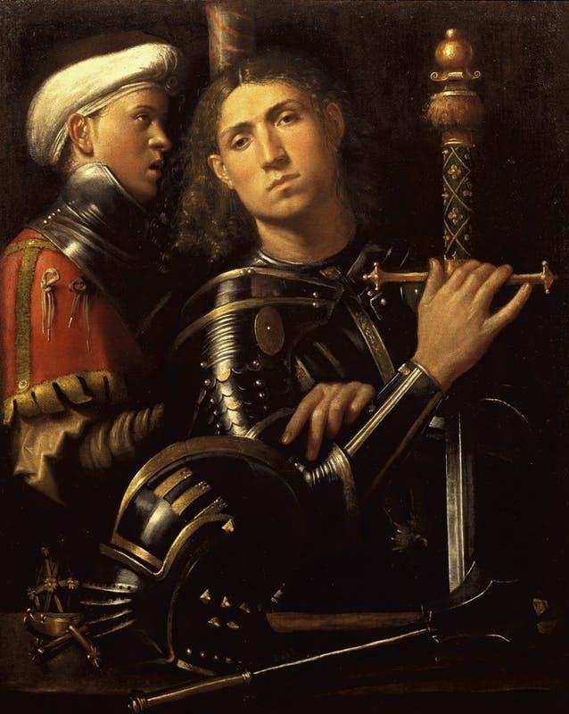 """Giorgio da Castelfranco, The """"Gattamelata"""". Man in armour with a squire (1501-1502)"""